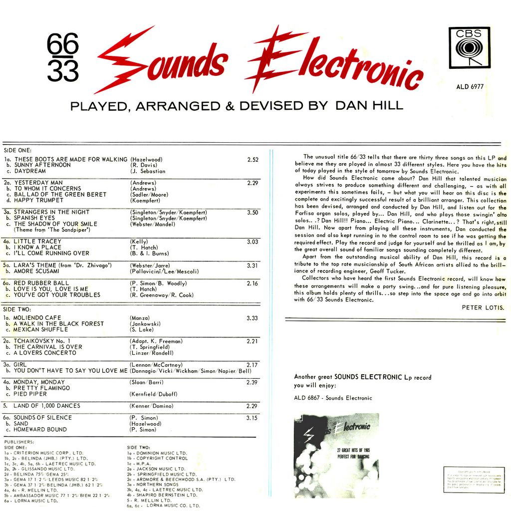 Dan Hill. Sounds Electronic 66-33. Rare 1966 South African Cheesecake, back cover