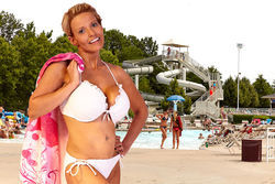 """""""Appropriate body coverage must be maintained at all times,"""" reads the guidelines for Ballwin's North Pointe Family Aquatic Center. We see nothing inappropriate in Rachel's frilly, white string-bikini. Do you?"""