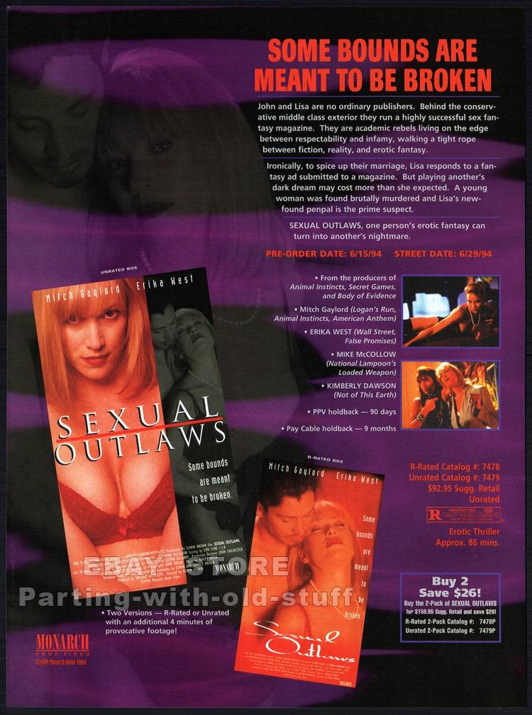 SEXUAL OUTLAWS__Original 1994 Trade AD movie promo__KIM DAWSON__MITCH GAYLORD