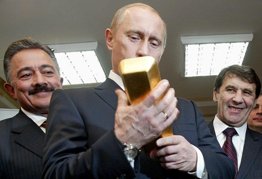 Putin Holding Bar of Gold